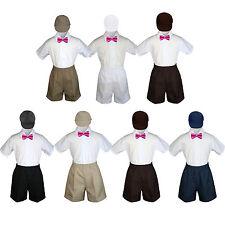 4pc Baby Boys Toddler Formal Fuchsia Bowtie Black Khaki Shorts Set Hat Sm-4T