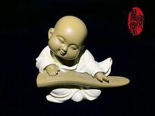 Iron Stone Little Monk Happy Buddha Figurine Home Office Gift Playing Guqin