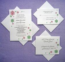 100 Personalized Custom Winter Snowflake Snow Bridal Wedding Invitations Set