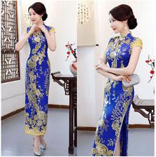 Deep Sea Blue Metallic Gold Flowers Chinese Long Dress Cheongsam Qipao lcdress66