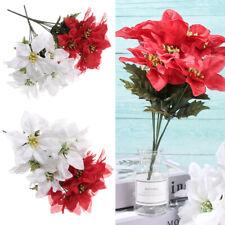 Xmas Gift Christmas Tree Flowers Poinsettia Ornament Artificial Decor