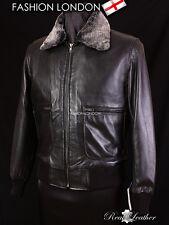 PILOTE fourrure collier agneau blouson en cuir aviateur courte Cool masculin noir
