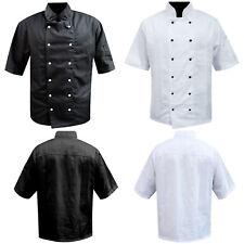 Chef Jacket Coat Short Sleeve Women Men Uniform Top Stud Button Kitchen Black UK