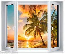 Sticker fenêtre trompe l'oeil Palmier coucher de soleil réf 5256