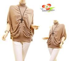Women Angora Mohair Knit Tunic gathered Drape Turtleneck Sweater Blouse Top NEW