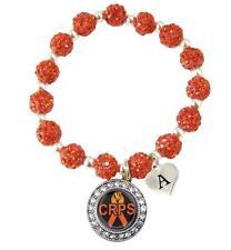 Custom CRPS RSD Awareness Orange Bling Bracelet Jewelry Choose Initial Charm