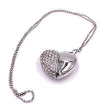 Herz Silber mit Kristallen USB Stick 8GB 16GB 32GB USB 2.0