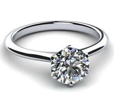 0.7 CARAT WOMEN 18K WHITE GOLD 6 PRONGS DIAMOND ROUND RING SIZE 6.5 8 9 VS