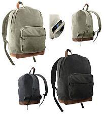 Vintage Canvas Backpack w/ Accented Leather - Teardrop Bookbag Knapsack Bag