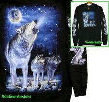 Kapuzen Jacke Wolf Mond, Gr. M, XL, Biker Western Cowboy Indianer Hoodie Wölfe
