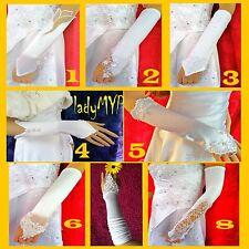 LadyMYP© Brauthandschuhe zur Wahl: elegant, wunderschön, Weiß-Schwarz-Elfenbein