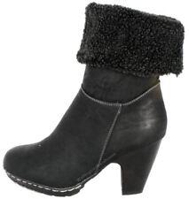 Manfield FLB681 Noir Ru Bottes Femme Cheville Chaussures Talon Haut