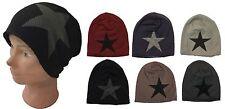 Unisex Slouchy Star Pattern Fashion Knit Ski Faux Fur Baggy Beanie Hat Cap