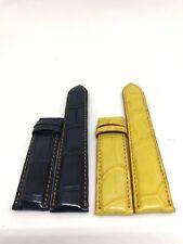 Yellow/ Blue Genuine Crocodile Alligator Skin Leather Watch Strap Band 18mm/24mm