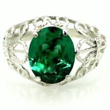 • SR162, Russian Nano Emerald, 925 Sterling Silver Ladies Ring -Handmade