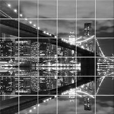 Autocollant Stickers carrelage pont new york - Dimension du stickers : 60x60 cm
