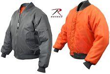 Mens Gun Metal Grey MA-1 Reversible Flight Jacket - Gray Military Pilots Coat