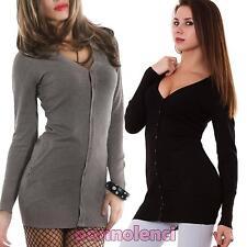 Cardigan donna lungo maglioncino pullover bottoni maniche lunghe nuovo JM-G5865