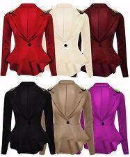 New Ladies Plus Size Spike Blazer Jacket Womens Studded Waist Frill Jacket 8-24