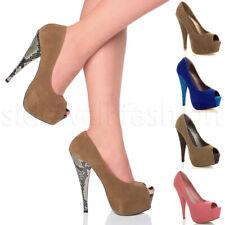 Mujer Damas Tacón Alto Peep Toe Plataforma Oculta Contraste Fiesta Court Shoe