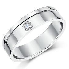 9ct White Gold Diamond Wedding Ring Flat Court 6mm Solid Gold & Hallmarked