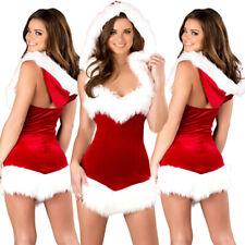 Womens Christmas Sexy Santa Claus Fur V-Neck Costume Xmas Outfit Fancy Dress AU