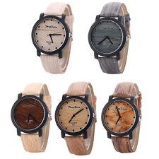 Ladies Fashion Retro Casual Dress Quartz Wood Grain Leather Band Wrist Watch.