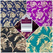 "Indian Gold Floral Banarsi Brocade Faux Silk Waistcoat Fabric 44"" Wide Mtex M833"