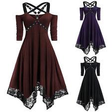 Womens Renaissance Retro Dress Cold Shoulder Hollow Cosplay Party Dresses M-2XL