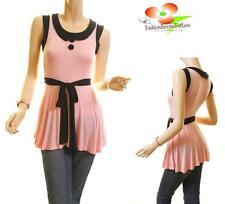 Women Pink Sailor Double Button Lolita VTG Tunic Jersey Blouse Shirt Top S M L