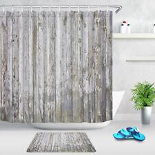 "71"" Rustic Old Wood Board Bathroom Shower Curtain Set Waterproof Fabric Hooks"