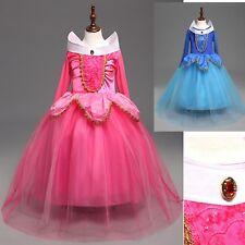 Aurora Vestito Bambina Carnevale Maschera Princess Girl Costume Dress AUR004B E