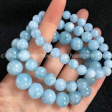 6/8/10/12mm Natural Blue Aquamarine Round Gemstone Bead Stretchy Bangle Bracelet
