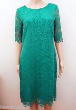 New M&S Collection Green Slash Neck Floral Lace Shift Dress Sz UK 10
