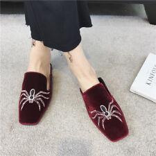 zapatillas elegantes zuecos rojo terciopelo suela cómodo como piel 9920