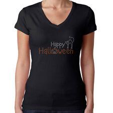 Womens T-Shirt Rhinestone Bling Black Fitted Tee Happy Halloween Cat