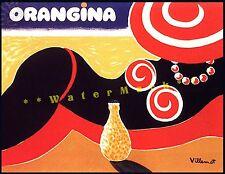 Orangina Beach Lady Vintage Poster Print Travel Sunbathing Orange Drink