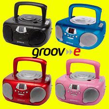 Groov-e gvps713 Boombox portable cdplayer, radio & aux noir rouge bleu rose + aux
