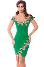 Sexi abito corto dress spacco VERDE asimmetrico S-M-L-XL-XXL schiena ORO curvy