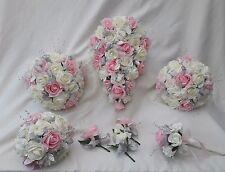 Wedding flowers Ivory/Pink rose silver crystal Bride, Bridesmaid, Flowergirl