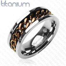 Solid Titanium Ring w/Coffee Chain Inlay Size 9,10,11,12,13,14 (FL10)