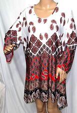 Southern Lady Women Plus Size 1x 2x Red Ivory Paisley Tunic Top Blouse Shirt