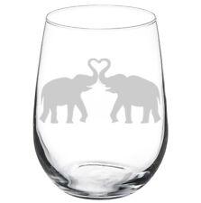 Elephants Making Heart Stemmed 10oz / 20oz / Stemless Wine Glass