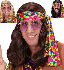 Hippie Peluca Década de los 70 Hombre, Rubio, Negro, Marrón Carnaval