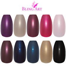 Bling Art Coffin False Nails Black Red Blue Pink Purple Glitter Fake Medium Tips