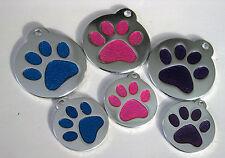 Glitter Paw  pet ID Tags, Dog/cat personalized custom engraving Aluminum  enamel