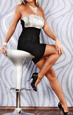 SeXy Miss Damen Bandeau Pailletten Glitzer Mini Kleid schwarz silber S/M 34/36