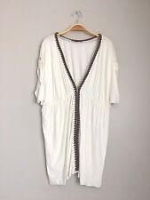 T-BAGS Los Angeles Short Sleeve V Neck Draped Tunic Top Shirt Ivory 1X 3X $189