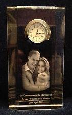 Crystal Desk Clocks - Laser Engraved Image of Prince William & Kate