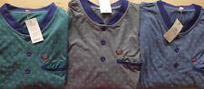 Herren Nachthemd blau grau petrol gemustert Rundhals langarm Gr. M, L, XL, XXL